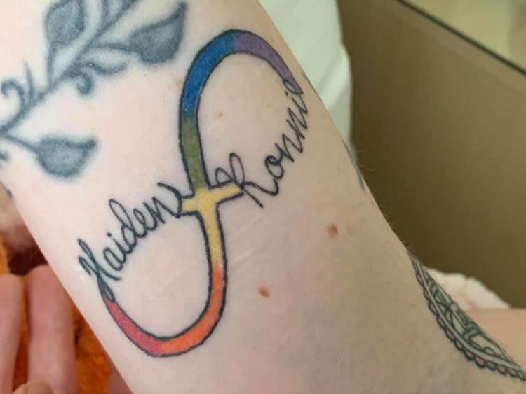 A rainbow infinity sign tattoo