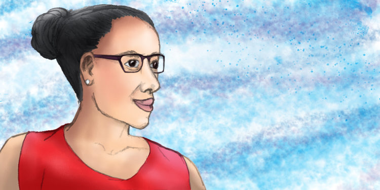 A Latinx female wearing a red tank top and glasses with her hair pulled back look off to the right