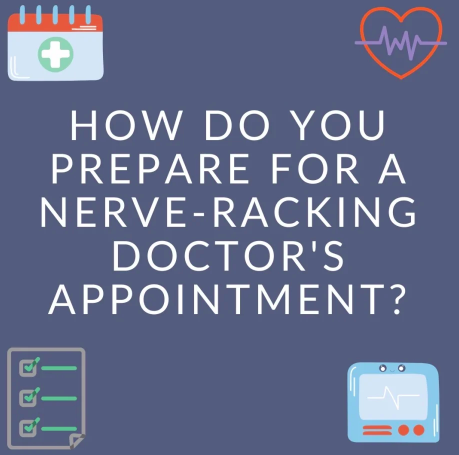 """How do you prepare for a nerve-racking doctor's appointment?"" illustration of a checklist, heart monitor, tv, and medical notebook"