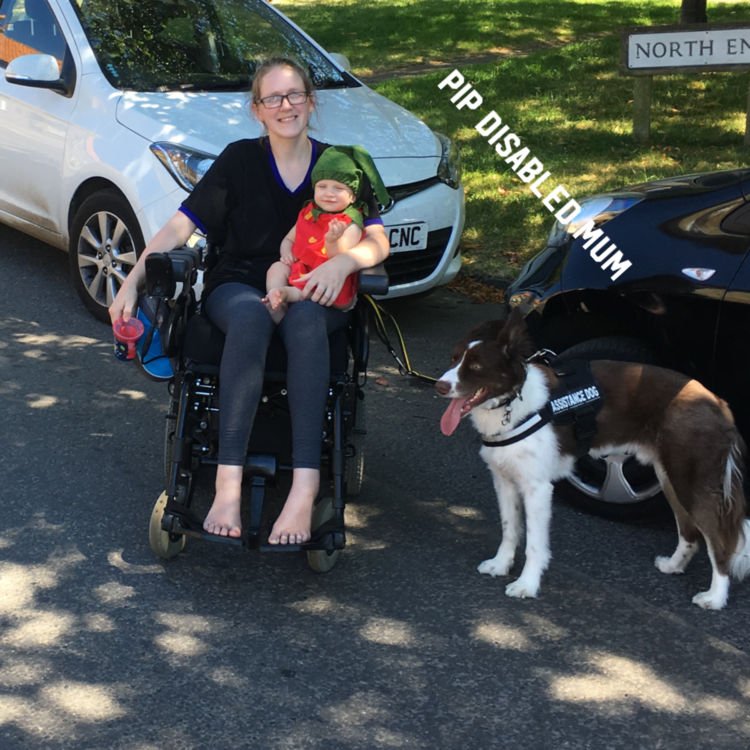 Pip with her son and service dog.