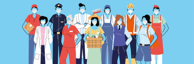 Illustration of a diverse group of frontline workers from different occupations wearing masks