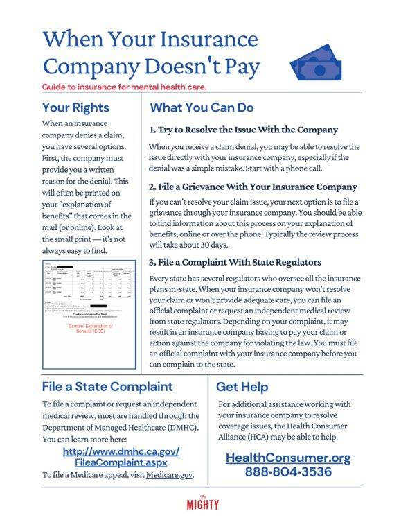 When Your Insurance Company Doesn't Pay (click to download flyer)