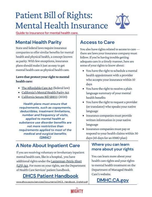 Patient Bill of Rights: Mental Health Insurance (click to download flyer)