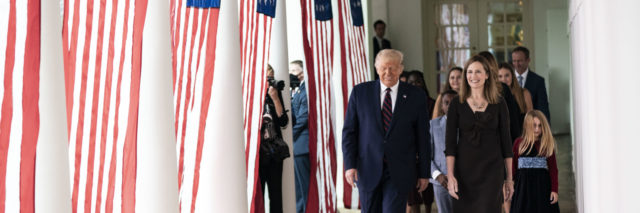 President Donald J. Trump walks with Judge Amy Coney Barrett, his nominee for Associate Justice of the Supreme Court of the United States, along the West Wing Colonnade on Saturday, September 26, 2020, following announcement ceremonies in the Rose Garden.