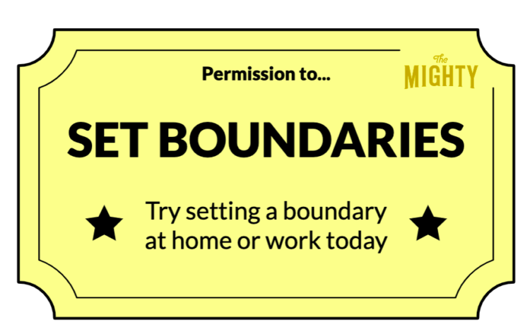 A permission slip with a muted yellow background and black text that reads: permission to... set boundaries. try setting a boundary at home or work today