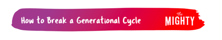 """A purple to red gradient banner with text that reads """"How to Break a Generational Cycle"""""""