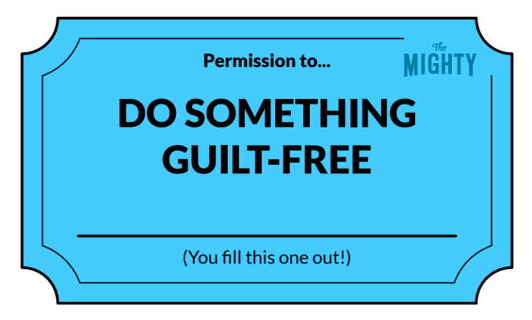 A permission slip on a light turquoise background with black text that reads: Permission to... do something guilt-free. (You fill this one out!)