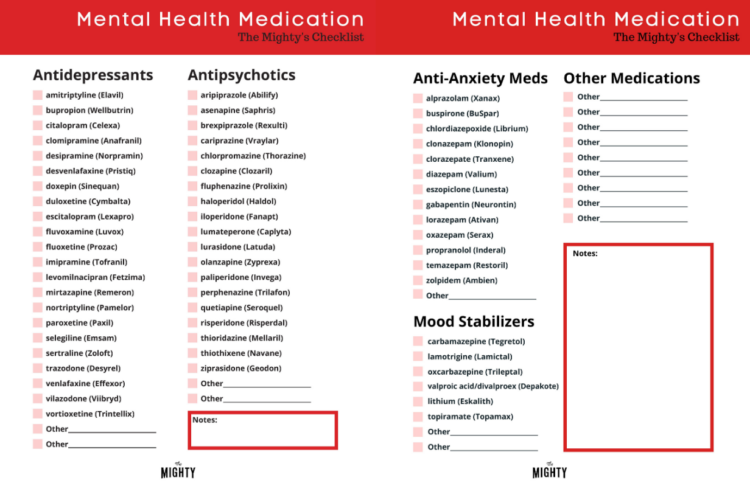 The Mighty's Mental Health Medication Checklist (click to download)