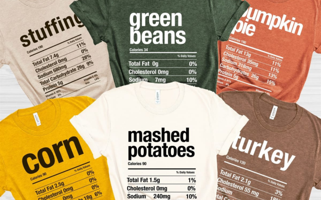 screenshot of thanksgiving t-shirts showing calorie counts and nutritional information from retailer Jane