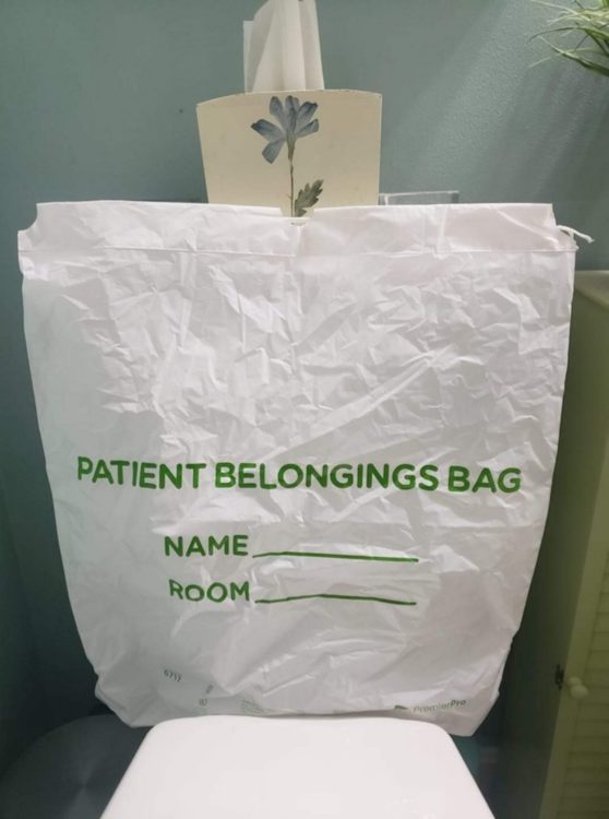 Image of a patient belongings bag on a chair at the hospital