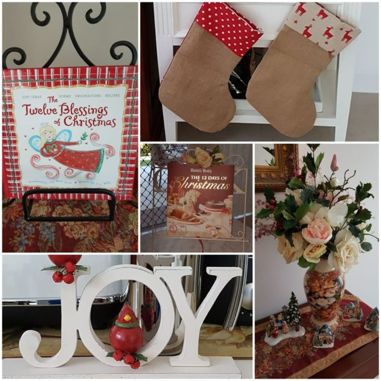 Holiday decorations from Samantha's home -- stockings, Joy 3D statue/sign.