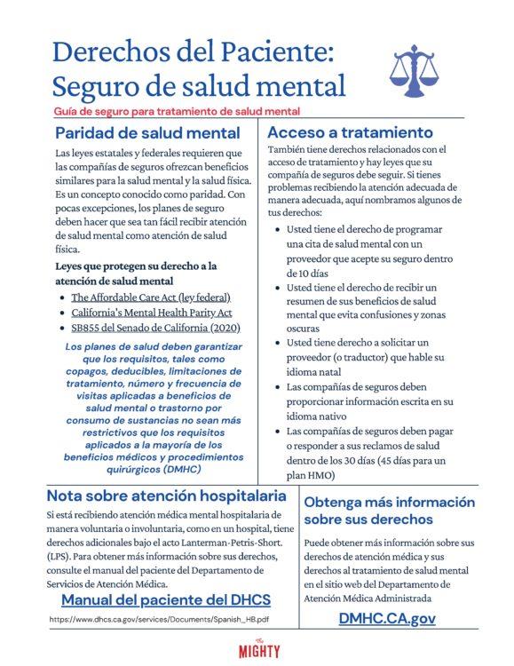 Derechos del Paciente: Seguro de salud mental (click to download)