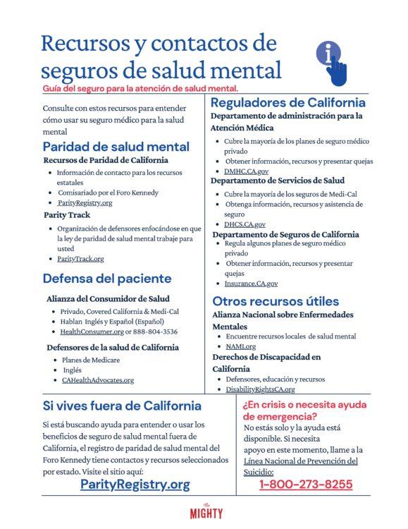 Recursos y contactos de seguros de salud mental (click to download)