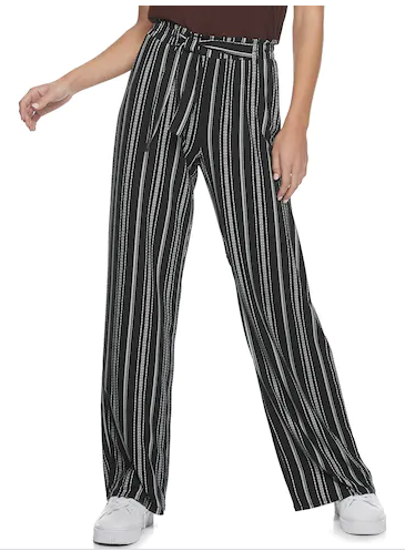 Loose black pants with white stripes.