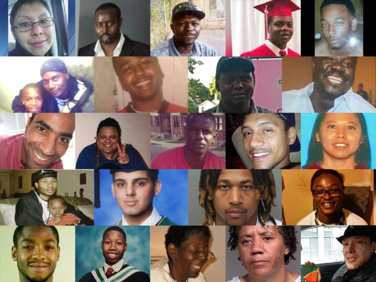 A collage of BIPOC people killed by the police