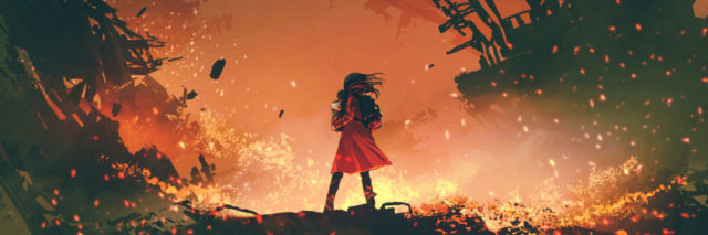 illustrated image of a woman in a fiery red dress looking out into a burning city around her