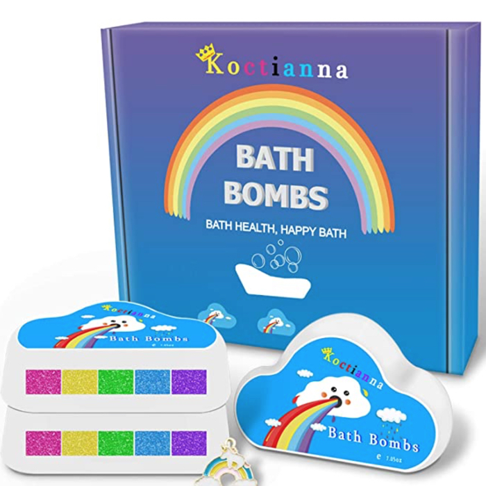 photo of box containing rainbow color bath bombs