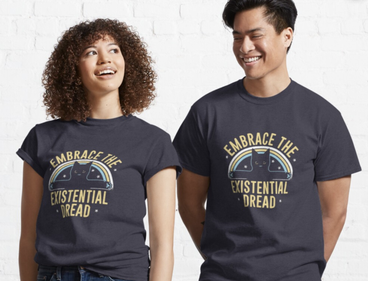 two people in existential dread shirts