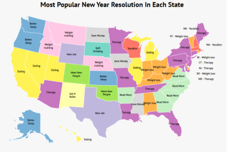 Map of the United States showing the most popular New Year's resolutions (click the map for full details)