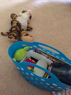 My son's sensory bin and Tiegie he brought to help calm my brain