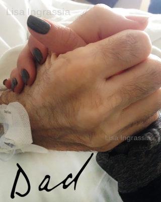 Author holding her father's hand -- a young white woman's hand squeezing her elderly, white father's hand