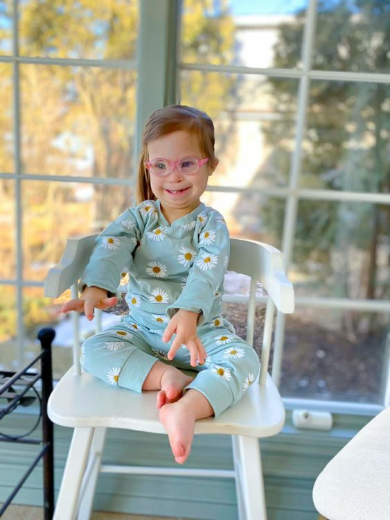 Ivy wearing blue pajamas.