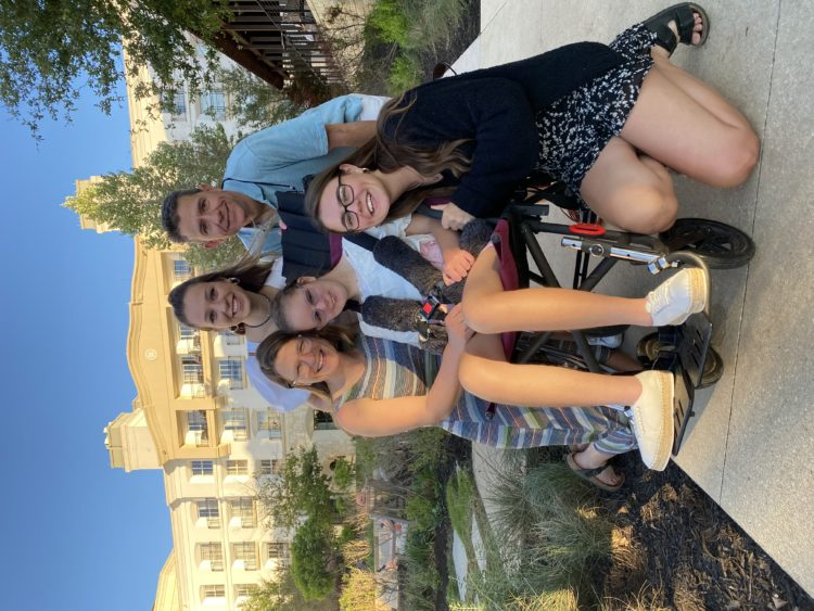 Marie with her family on vacation.