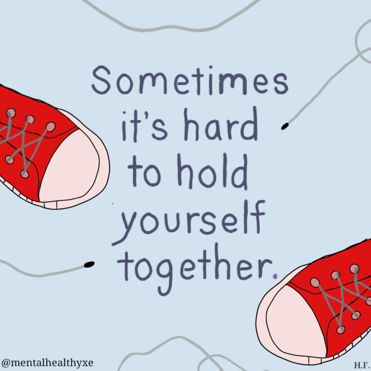 """A photo with a pair of red shoes and the words """"Sometimes it's hard to hold yourself together."""""""