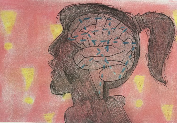 sketch the author drew of a person's head with their brain inside