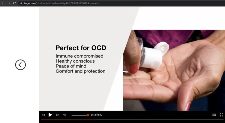 """Screenshot from the Target video sponsoring the item, claiming it to be """"perfect for OCD"""""""
