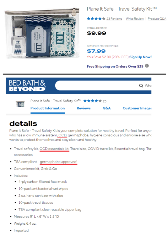 """Bed Bath & Beyond website advertising the product as an """"OCD essentials kit"""""""