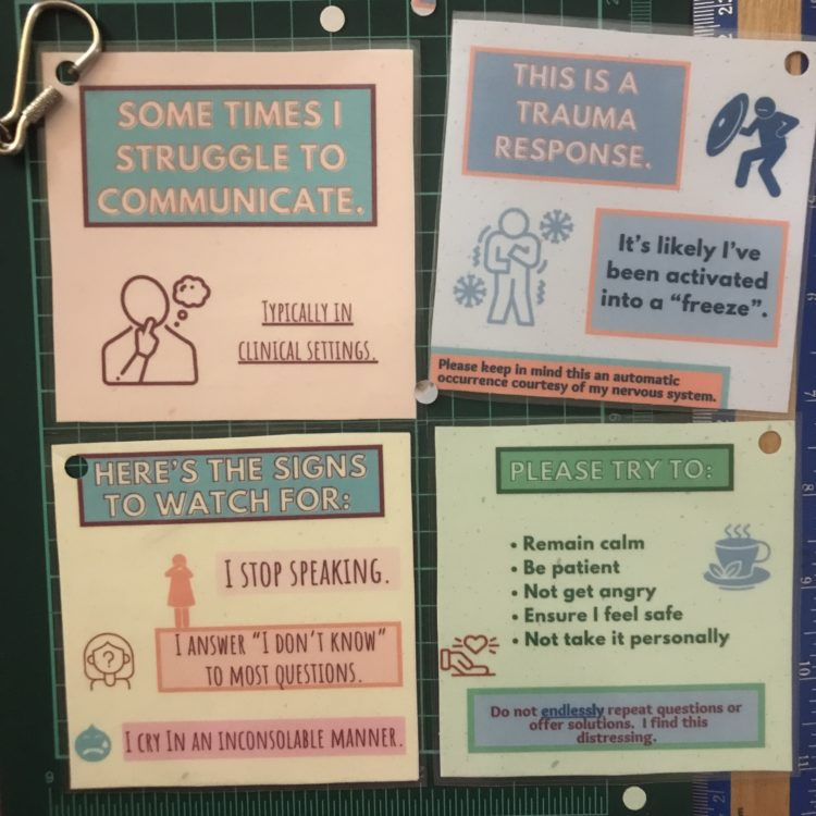 collage showing the contributor's eight-part communication cards explaining trauma responses and complex PTSD